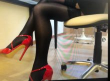 sexy legs sissy nylons at office